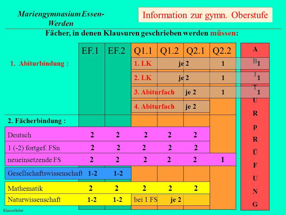 Information zur gymn. Oberstufe EF.1 EF.2 Q1.1 Q1.2 Q2.1 Q2.2