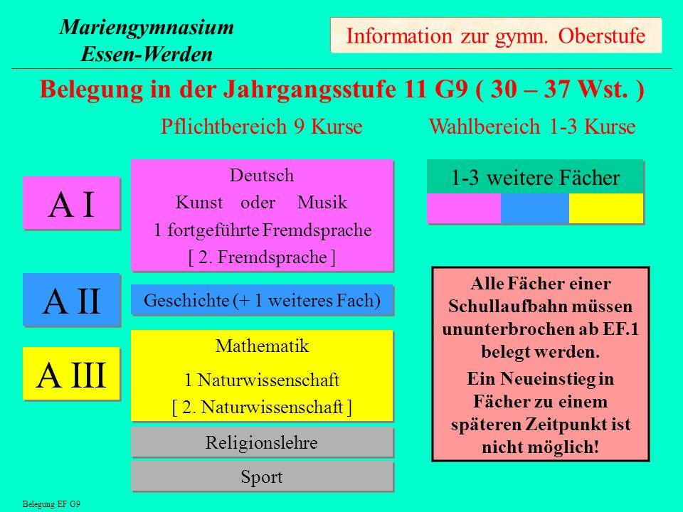 A I A II A III Belegung in der Jahrgangsstufe 11 G9 ( 30 – 37 Wst. )