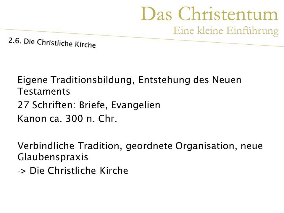 Eigene Traditionsbildung, Entstehung des Neuen Testaments