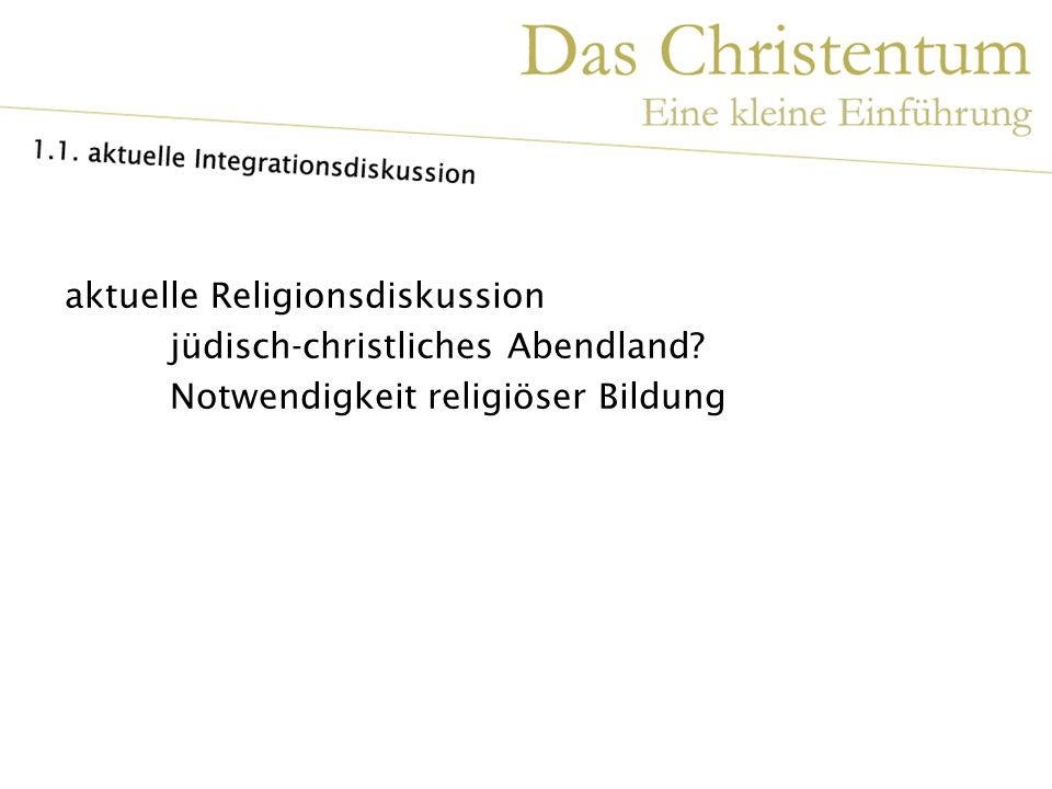 aktuelle Religionsdiskussion