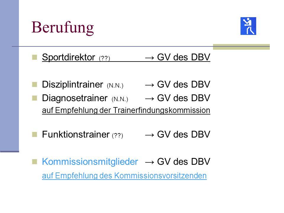 Berufung Sportdirektor ( ) → GV des DBV
