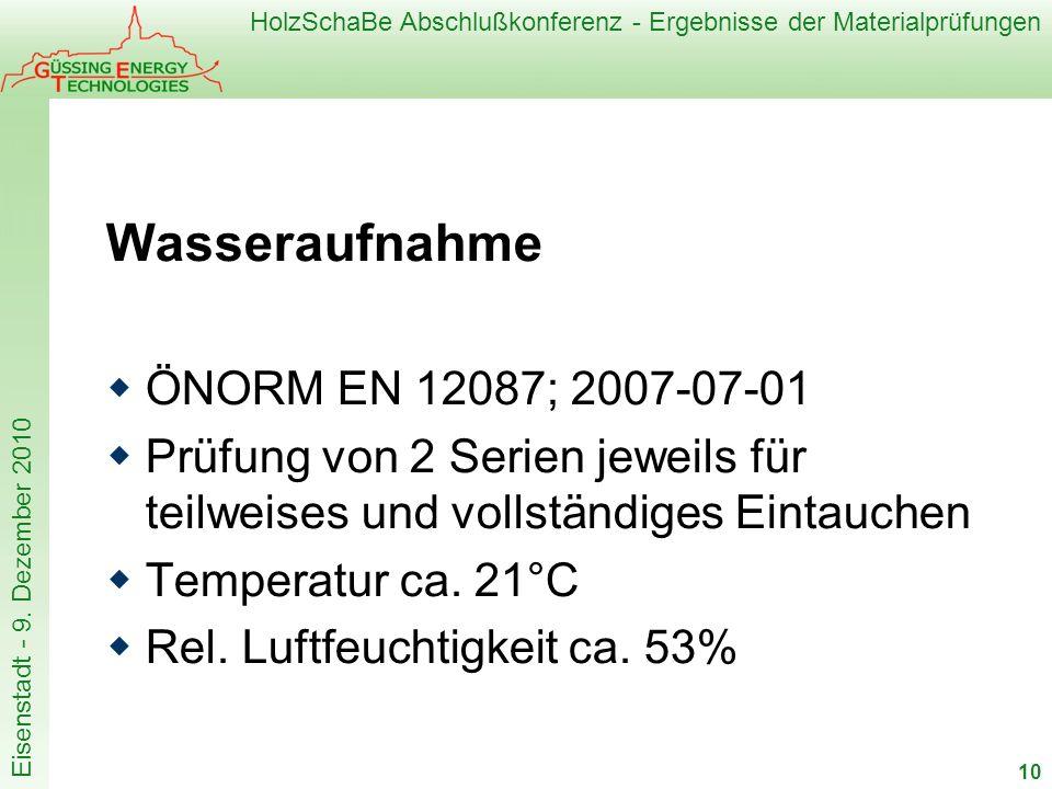 Wasseraufnahme ÖNORM EN 12087; 2007-07-01