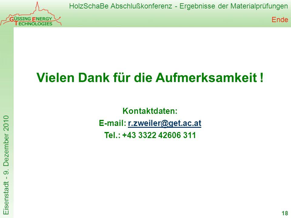 Vielen Dank für die Aufmerksamkeit ! E-mail: r.zweiler@get.ac.at