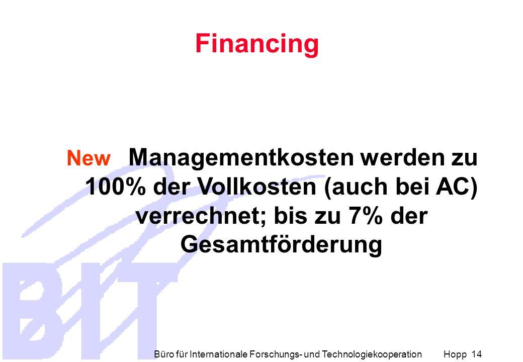 Financing New Managementkosten werden zu 100% der Vollkosten (auch bei AC) verrechnet; bis zu 7% der Gesamtförderung.