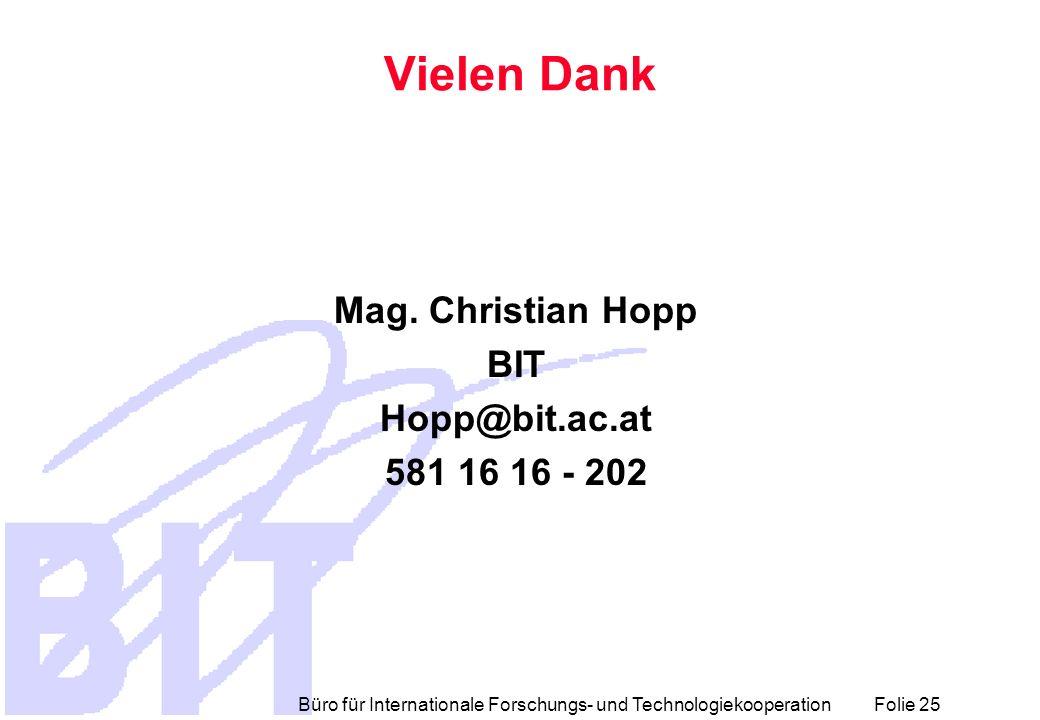 Vielen Dank Mag. Christian Hopp BIT Hopp@bit.ac.at 581 16 16 - 202