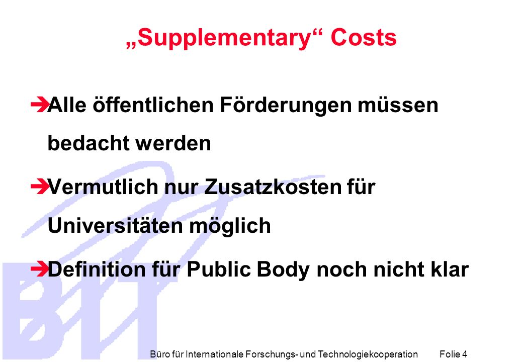 """Supplementary Costs"