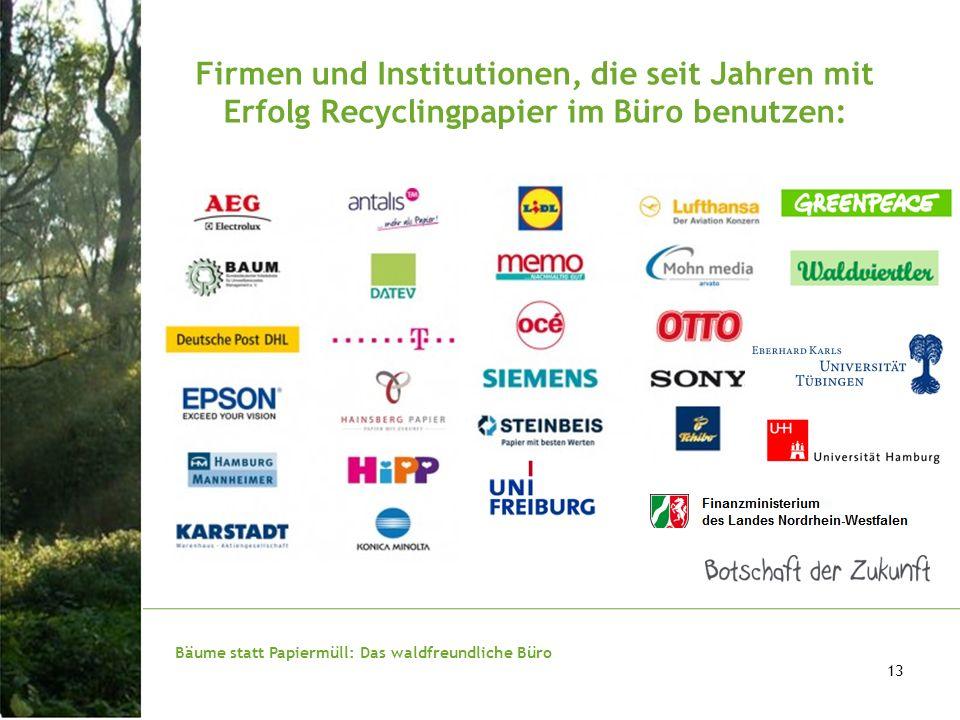 Firmen und Institutionen, die seit Jahren mit Erfolg Recyclingpapier im Büro benutzen: