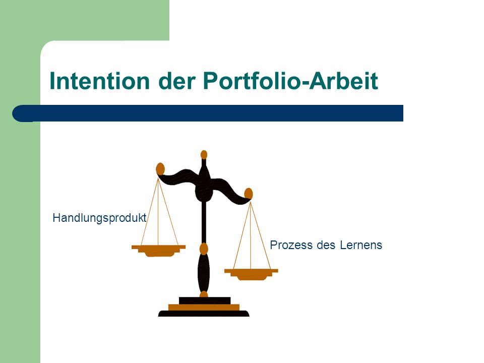 Intention der Portfolio-Arbeit