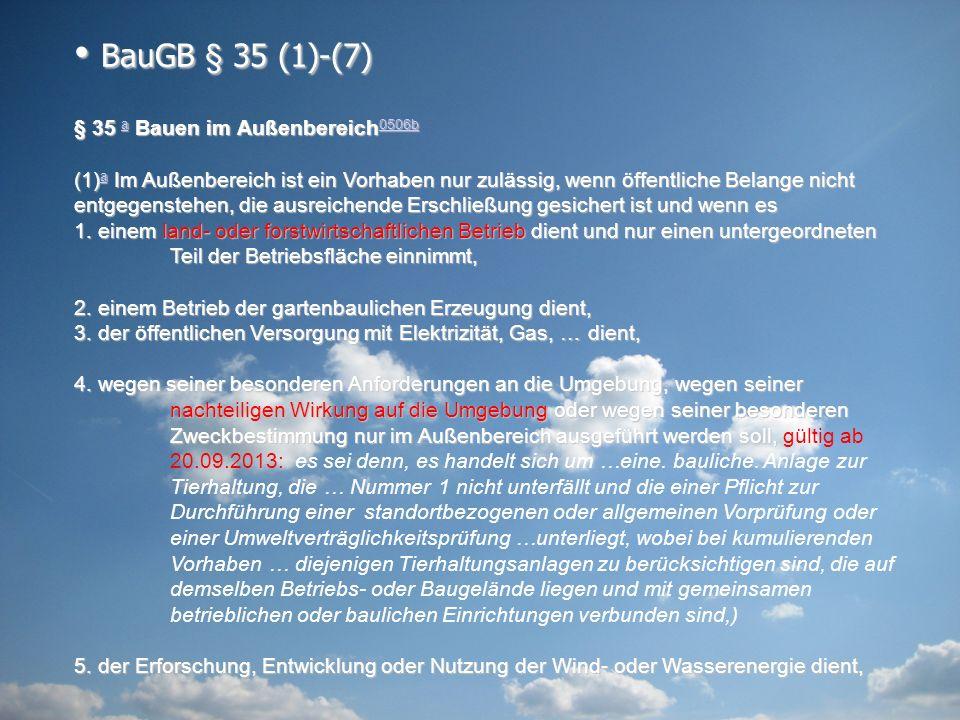 BauGB § 35 (1)-(7) § 35 a Bauen im Außenbereich0506b