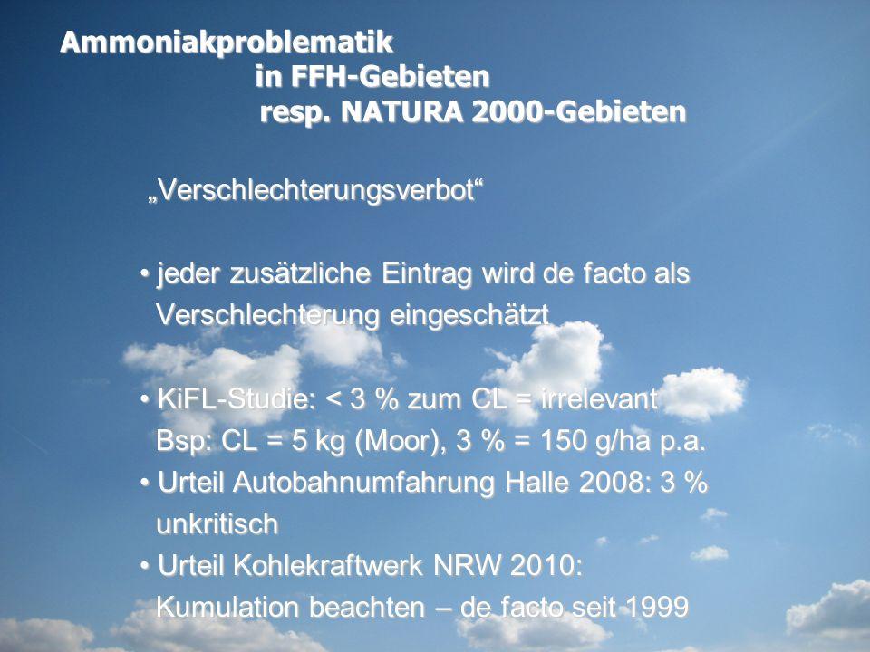 """Ammoniakproblematik in FFH-Gebieten. resp. NATURA 2000-Gebieten. """"Verschlechterungsverbot jeder zusätzliche Eintrag wird de facto als."""