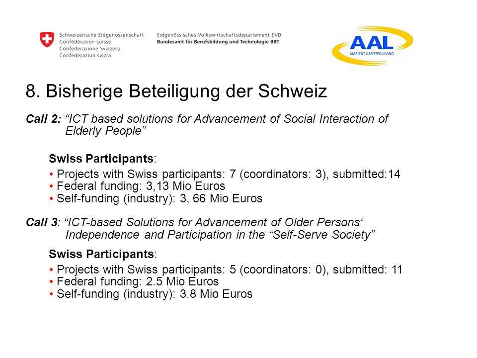 8. Bisherige Beteiligung der Schweiz