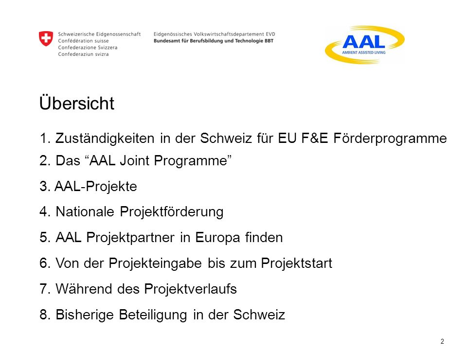 Übersicht 1. Zuständigkeiten in der Schweiz für EU F&E Förderprogramme
