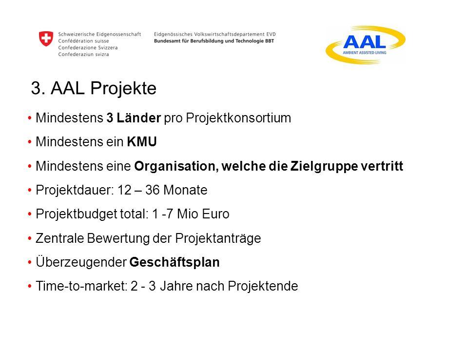 3. AAL Projekte Mindestens 3 Länder pro Projektkonsortium