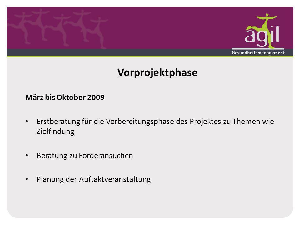 Vorprojektphase März bis Oktober 2009