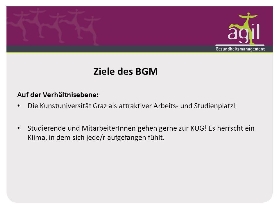 Ziele des BGM Auf der Verhältnisebene: