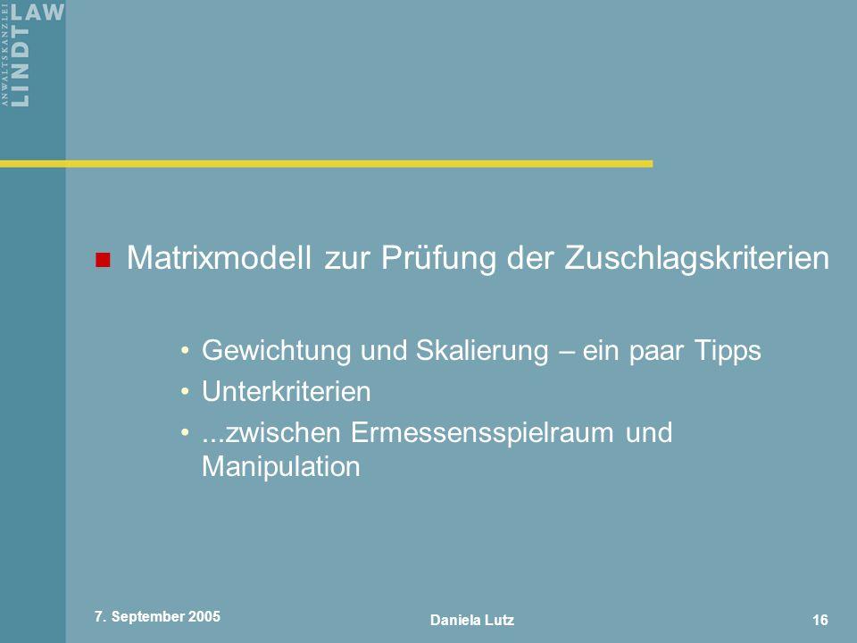 Matrixmodell zur Prüfung der Zuschlagskriterien