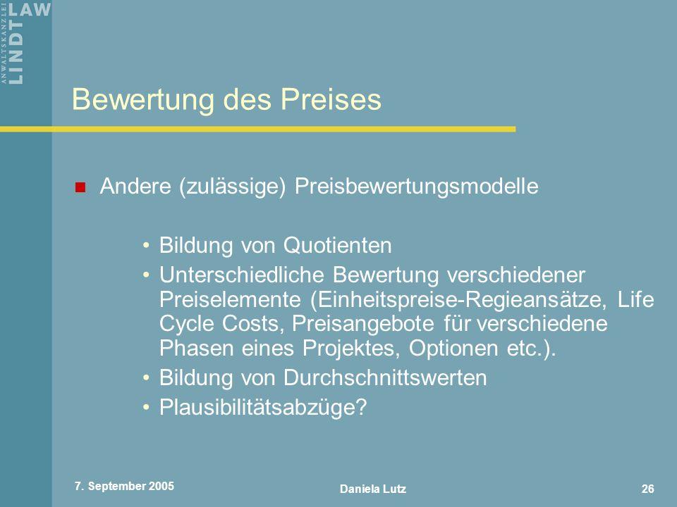 Bewertung des Preises Andere (zulässige) Preisbewertungsmodelle