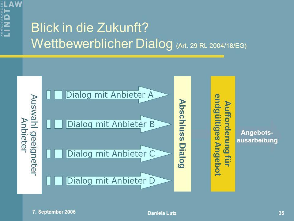Blick in die Zukunft Wettbewerblicher Dialog (Art. 29 RL 2004/18/EG)