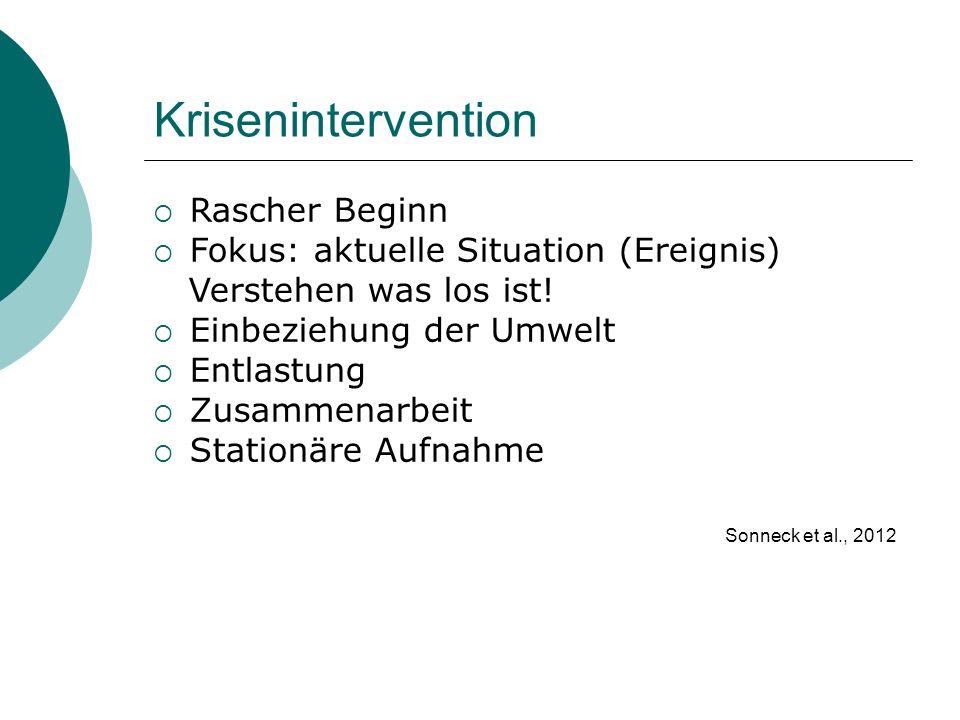 Krisenintervention Rascher Beginn Fokus: aktuelle Situation (Ereignis)