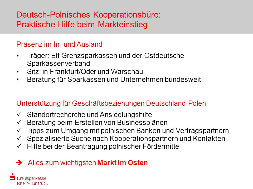 Deutsch-Polnisches Kooperationsbüro: Praktische Hilfe beim Markteinstieg