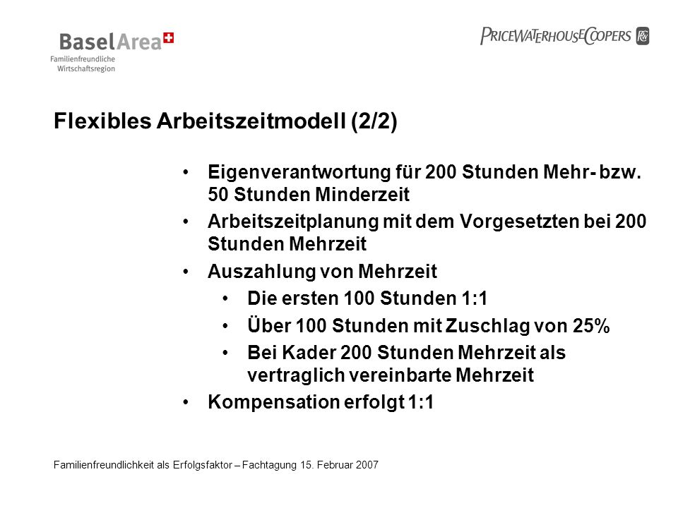 Flexibles Arbeitszeitmodell (2/2)