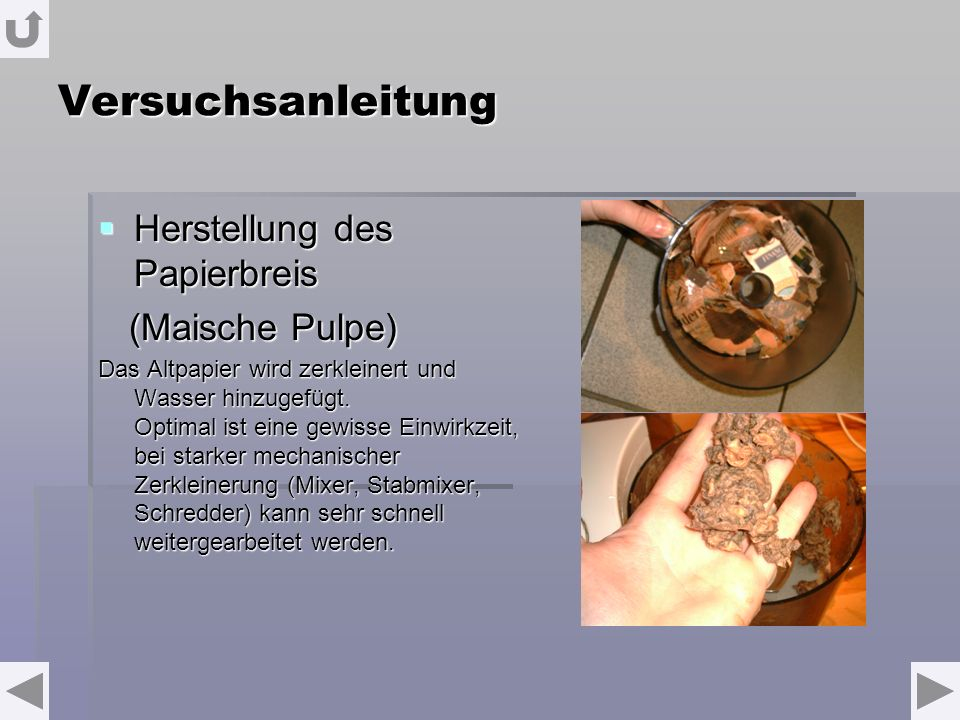 Versuchsanleitung Herstellung des Papierbreis (Maische Pulpe)