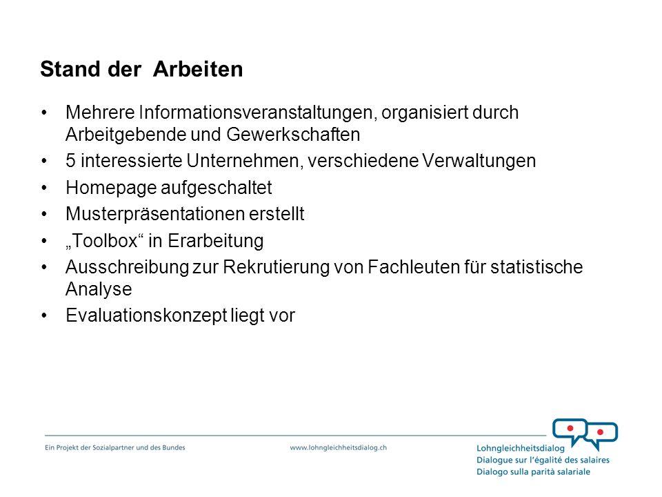 Stand der ArbeitenMehrere Informationsveranstaltungen, organisiert durch Arbeitgebende und Gewerkschaften.