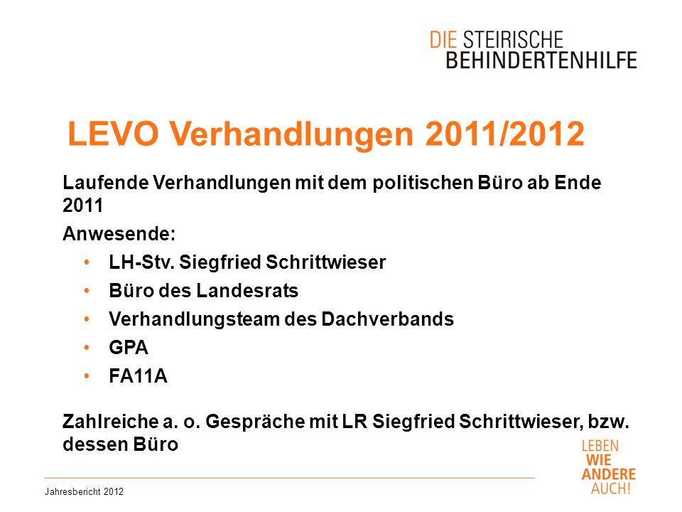 LEVO Verhandlungen 2011/2012 Laufende Verhandlungen mit dem politischen Büro ab Ende 2011. Anwesende: