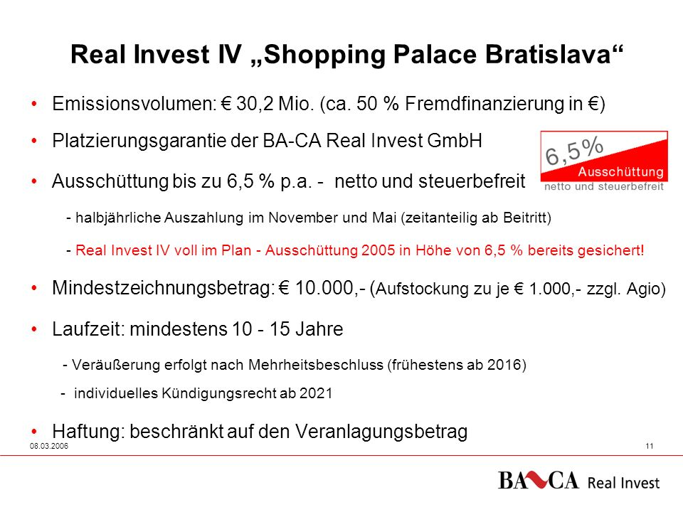 "Real Invest IV ""Shopping Palace Bratislava"