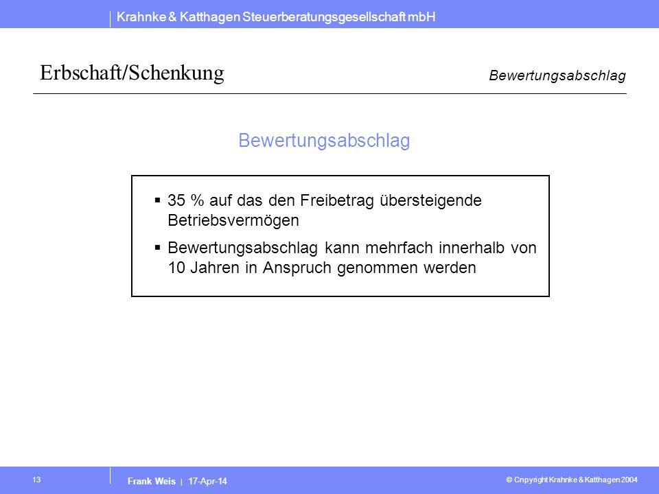 Erbschaft/Schenkung Bewertungsabschlag