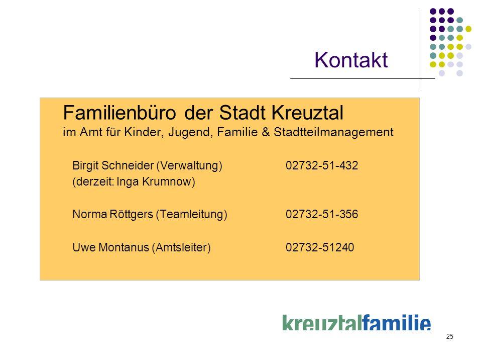 Kontakt Familienbüro der Stadt Kreuztal im Amt für Kinder, Jugend, Familie & Stadtteilmanagement.