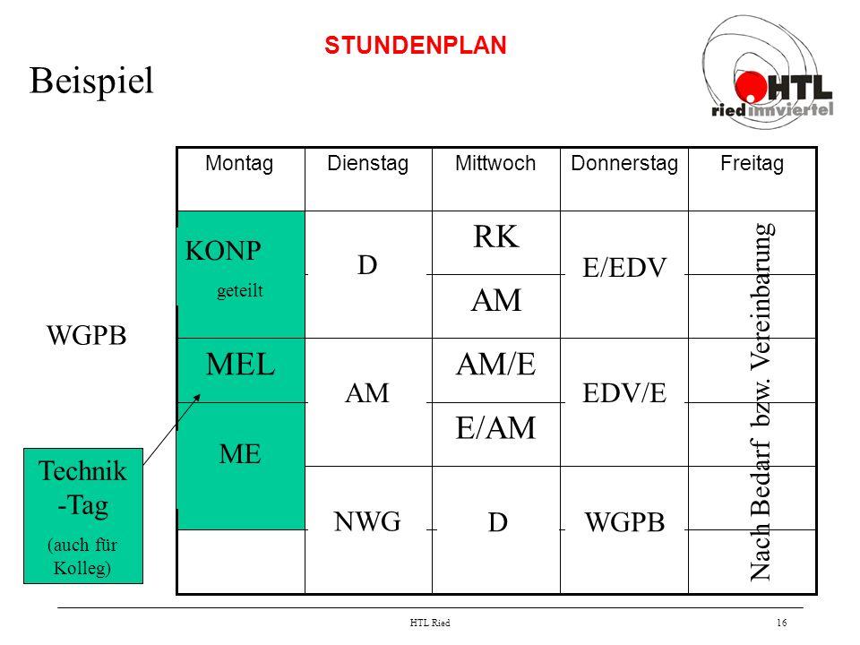 Beispiel E/AM AM/E MEL AM RK KONP D E/EDV WGPB AM EDV/E ME Technik-Tag