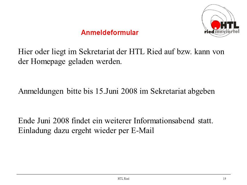 Anmeldungen bitte bis 15.Juni 2008 im Sekretariat abgeben