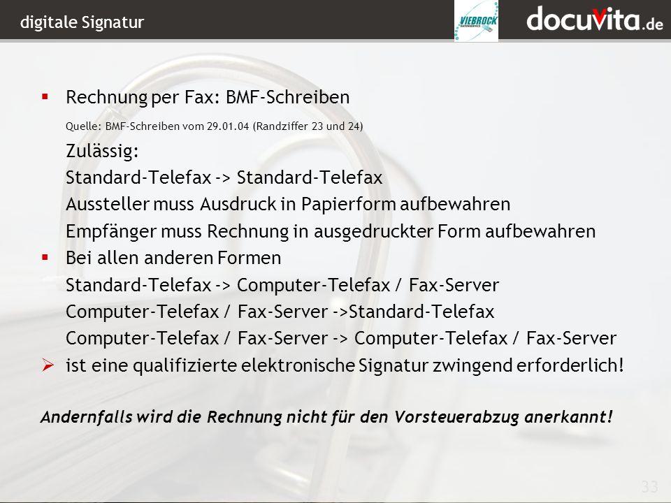 Rechnung per Fax: BMF-Schreiben