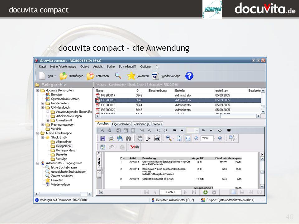 docuvita compact – die Anwendung