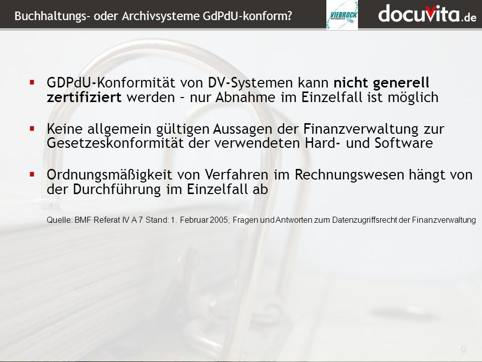 Buchhaltungs- oder Archivsysteme GdPdU-konform