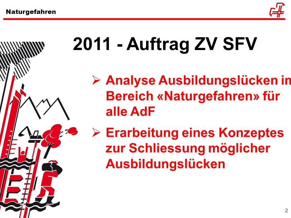 2011 - Auftrag ZV SFVAnalyse Ausbildungslücken im Bereich «Naturgefahren» für alle AdF.