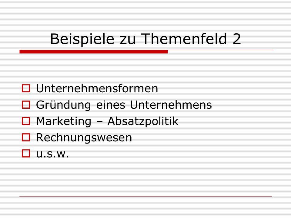 Beispiele zu Themenfeld 2