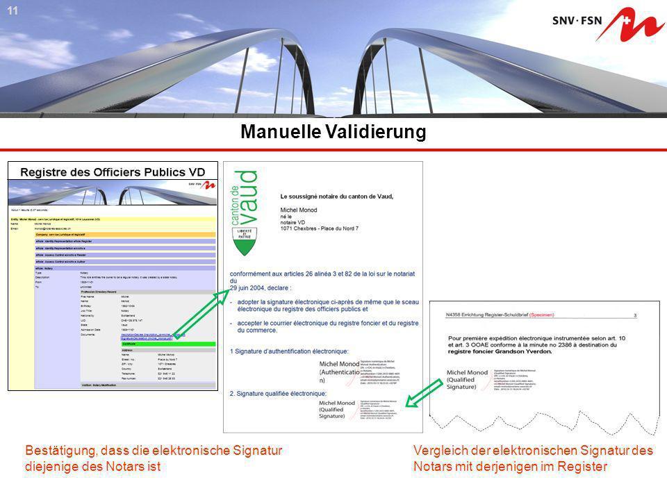 11 Manuelle Validierung. Bestätigung, dass die elektronische Signatur diejenige des Notars ist. Vergleich der elektronischen Signatur des.