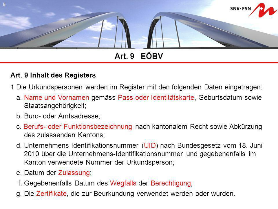 Art. 9 EÖBV Art. 9 Inhalt des Registers