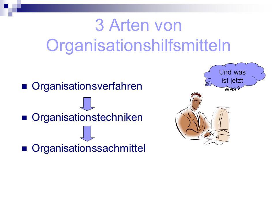 3 Arten von Organisationshilfsmitteln