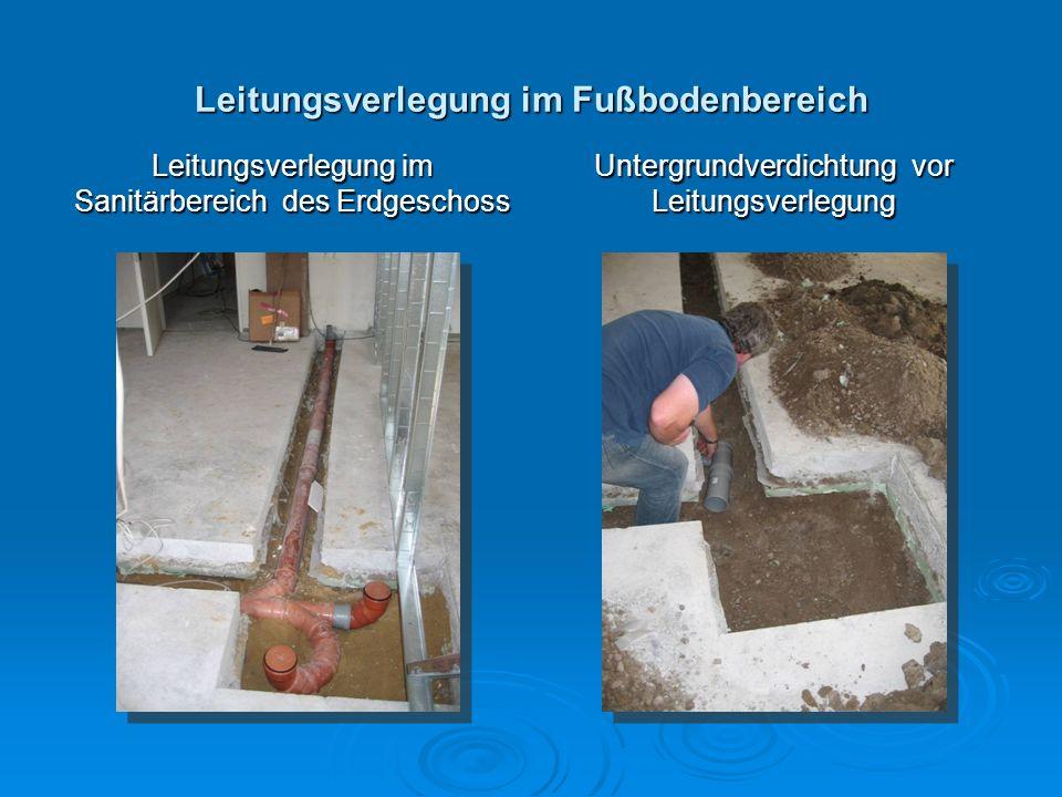 Leitungsverlegung im Fußbodenbereich
