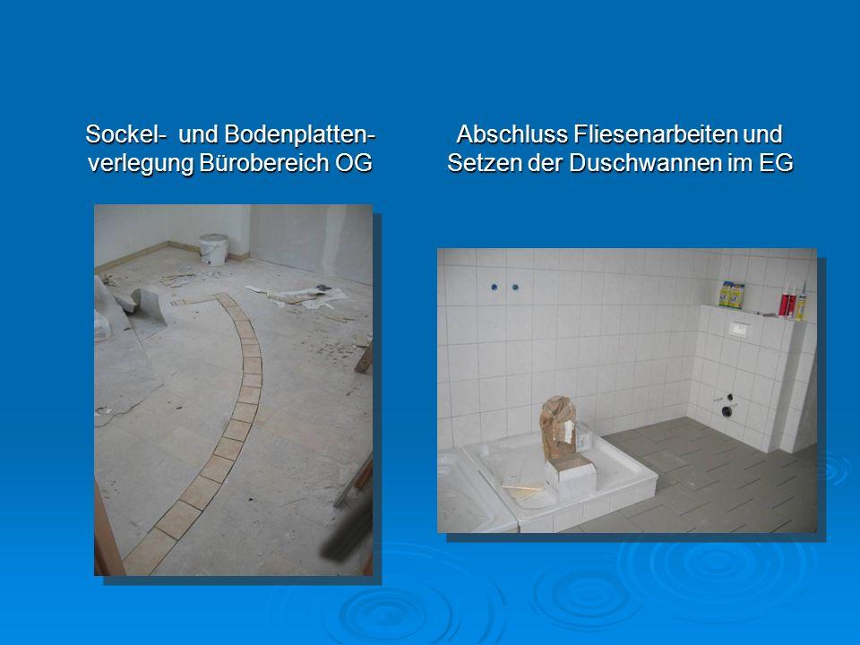 Sockel- und Bodenplatten-verlegung Bürobereich OG