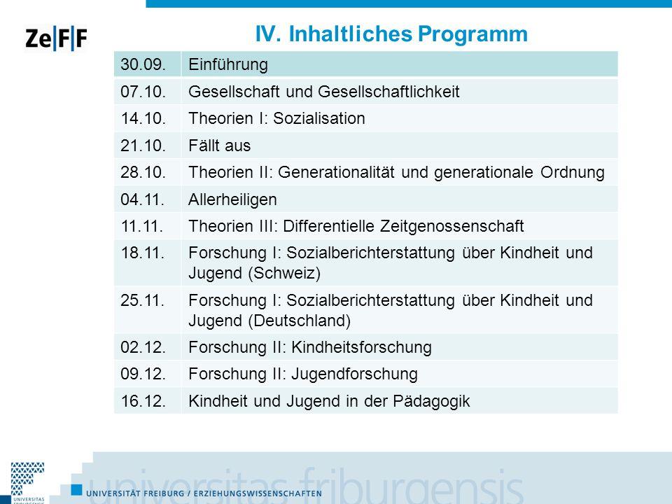 IV. Inhaltliches Programm