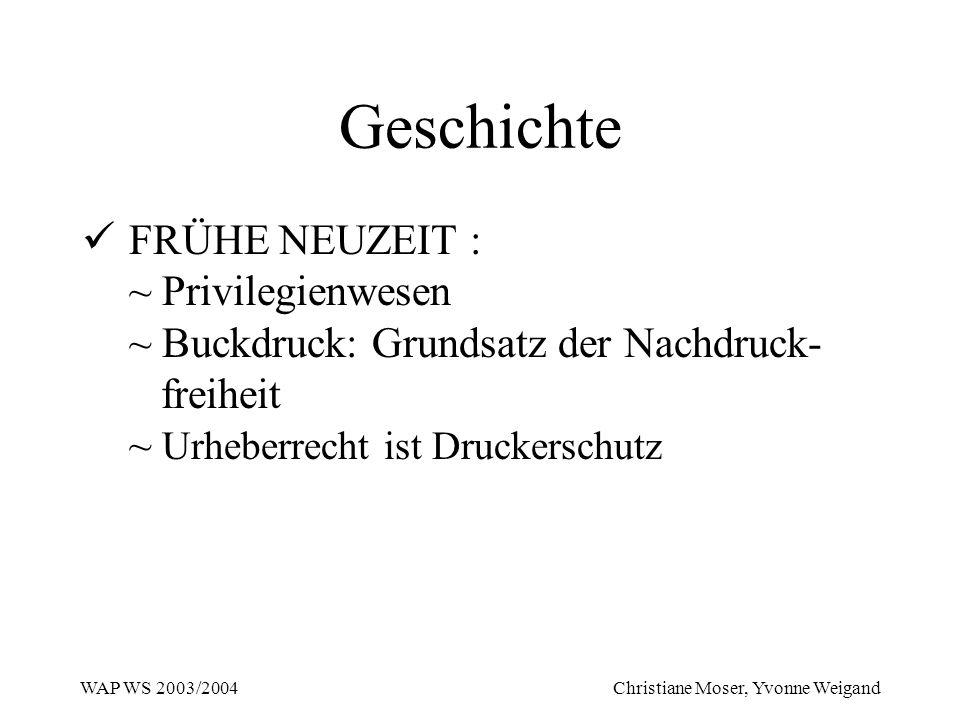 Geschichte FRÜHE NEUZEIT : ~ Privilegienwesen ~ Buckdruck: Grundsatz der Nachdruck- freiheit ~ Urheberrecht ist Druckerschutz.