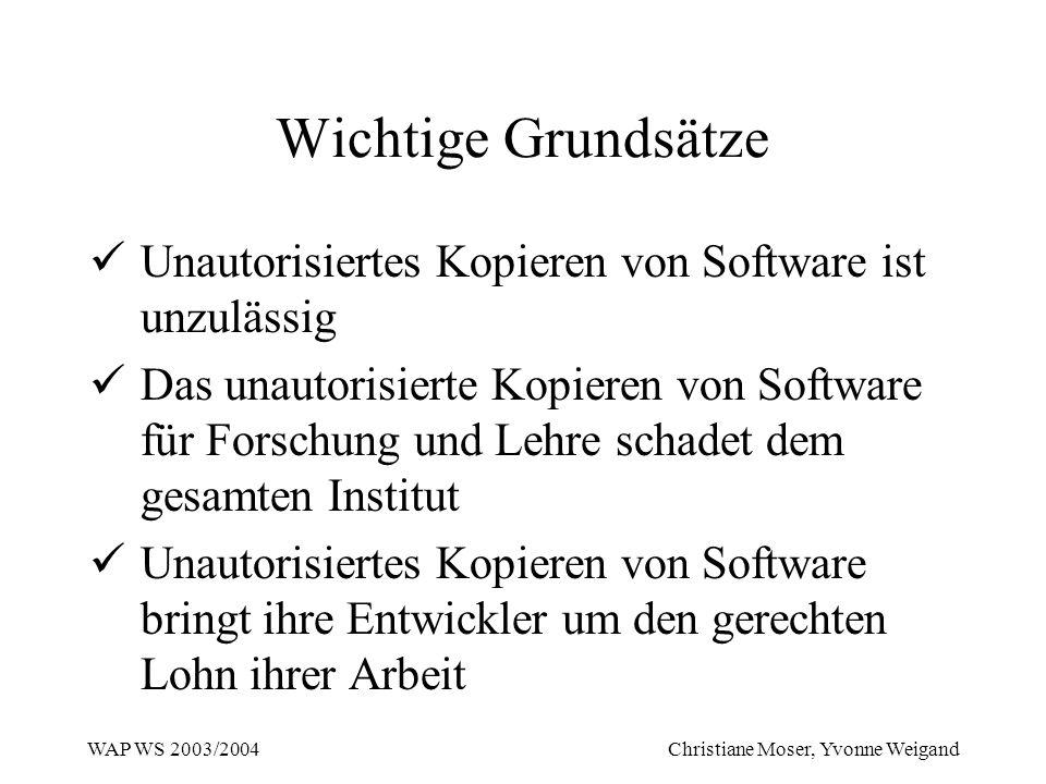 Wichtige Grundsätze Unautorisiertes Kopieren von Software ist unzulässig.
