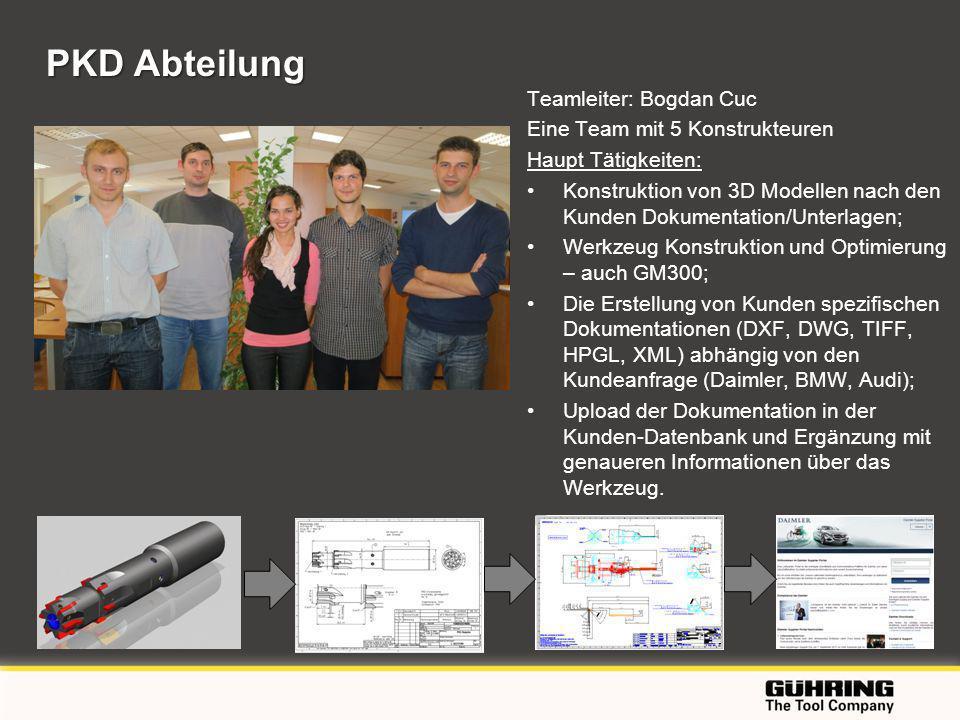 PKD Abteilung Teamleiter: Bogdan Cuc Eine Team mit 5 Konstrukteuren