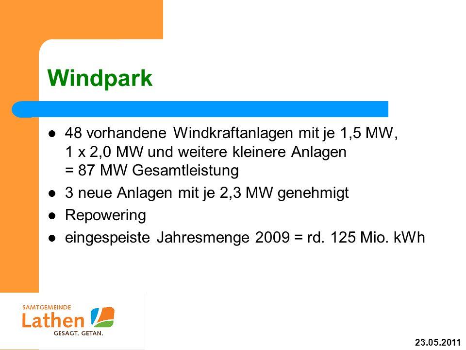 Windpark 48 vorhandene Windkraftanlagen mit je 1,5 MW, 1 x 2,0 MW und weitere kleinere Anlagen = 87 MW Gesamtleistung.