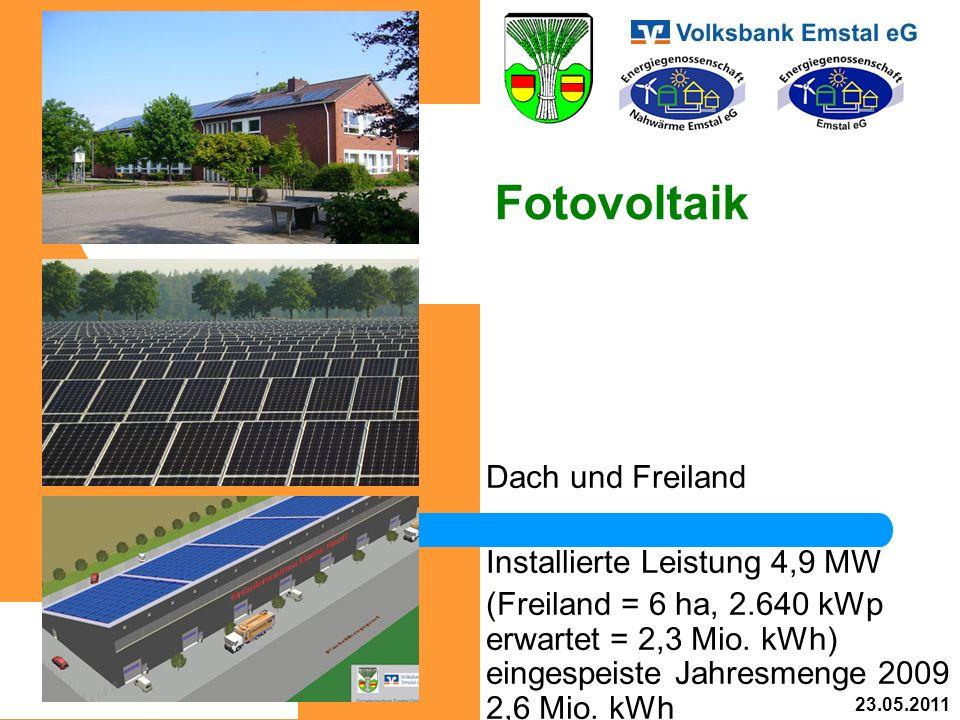 Fotovoltaik Dach und Freiland Installierte Leistung 4,9 MW