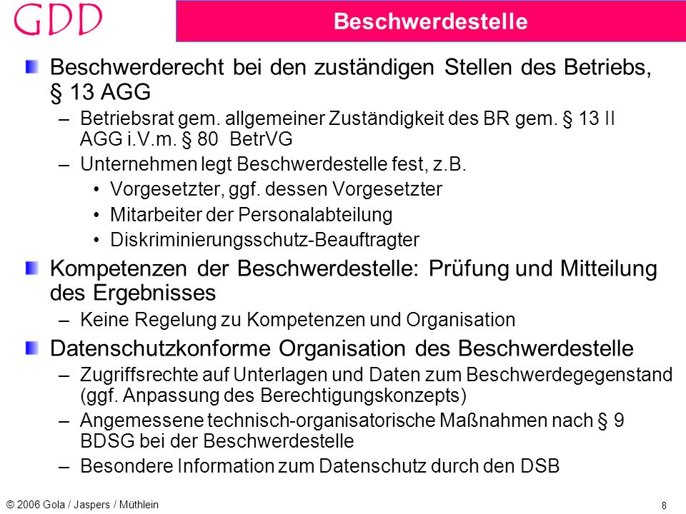 Beschwerderecht bei den zuständigen Stellen des Betriebs, § 13 AGG